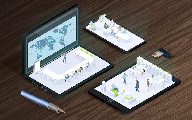 Tecnologias digitais para o vetor isométrico de negócios Vetor Premium