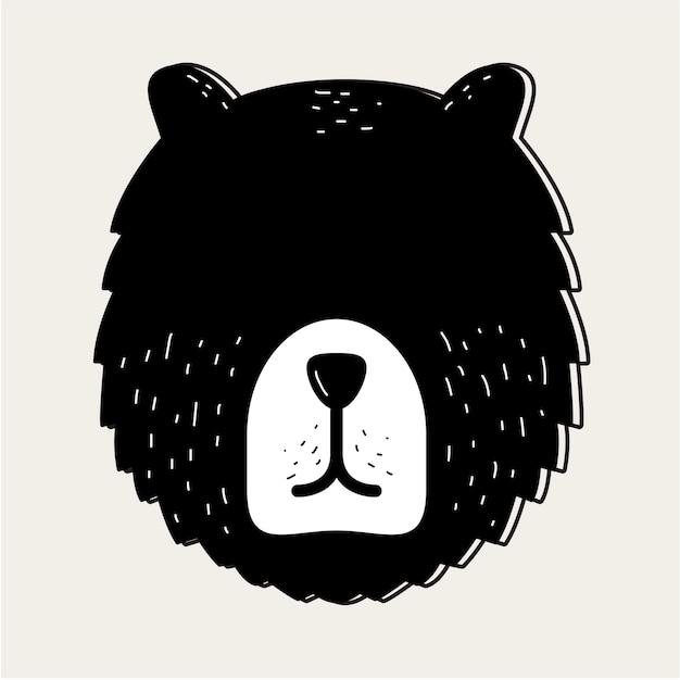 Teddy bear face head badge concept Vetor grátis