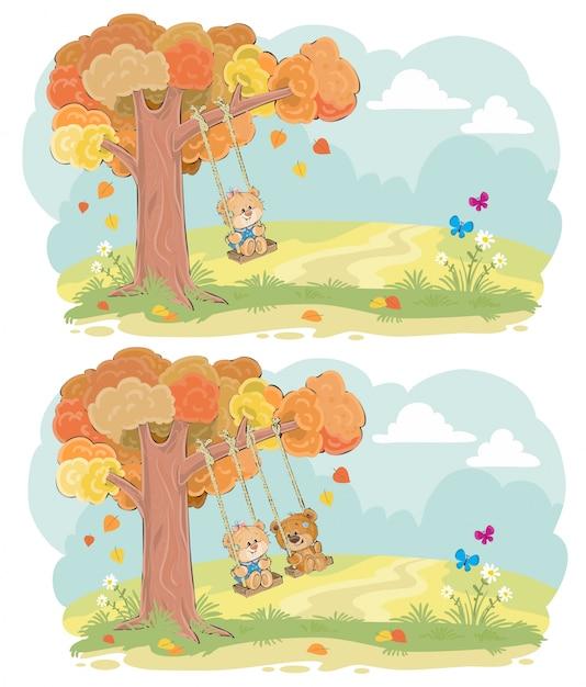 Teddy bear on swing conceito de vetor de outono Vetor grátis