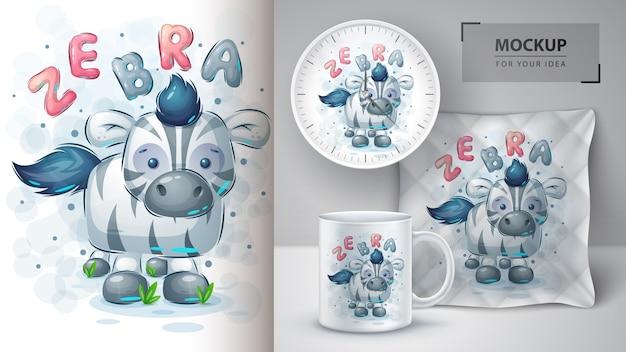 Teddy zebra - pôster e merchandising Vetor Premium