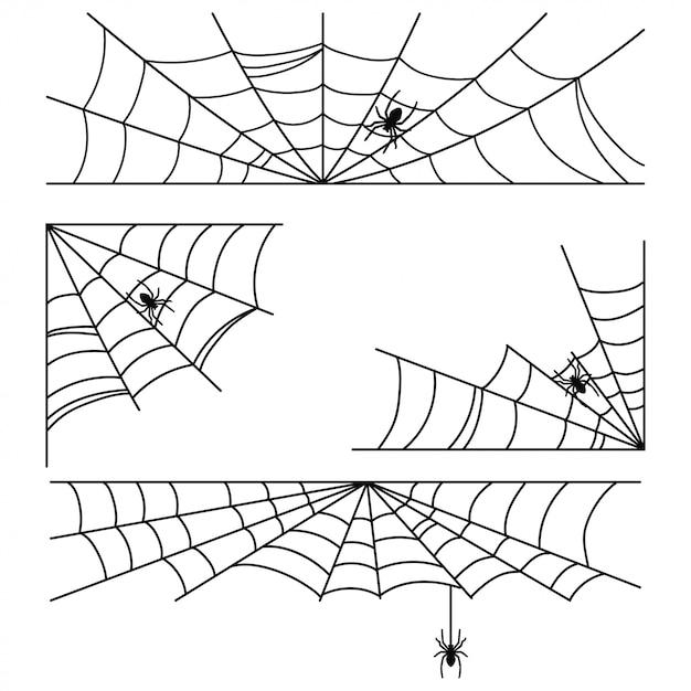 Teia de aranha de halloween com quadros de aranha e cantos conjunto isolado no branco. Vetor Premium