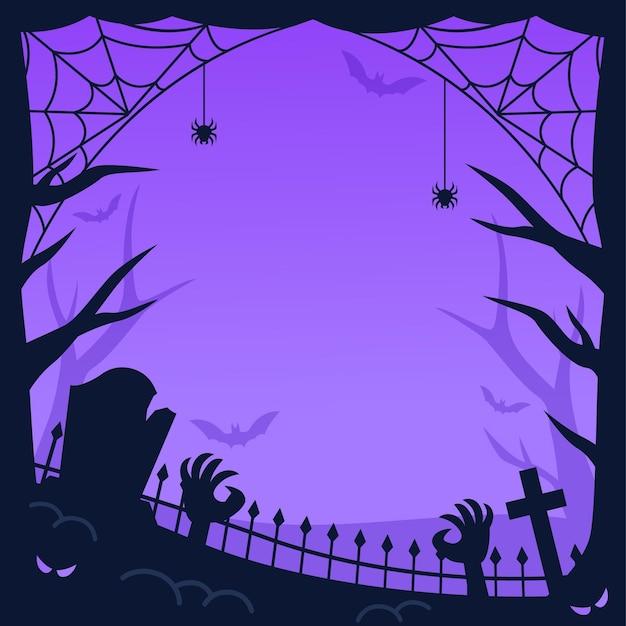 Teia de aranha e quadro de halloween de zumbis Vetor Premium