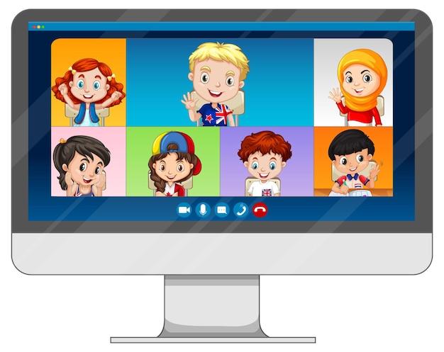 Tela de bate-papo por vídeo do aluno online na tela do computador em fundo branco Vetor grátis
