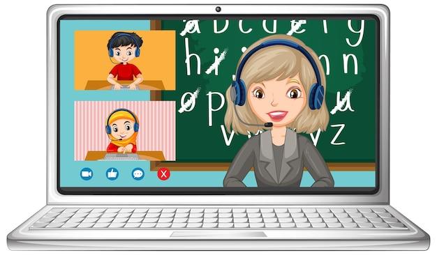 Tela de bate-papo por vídeo do aluno online no laptop em fundo branco Vetor grátis