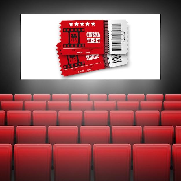 Tela de cinema com assentos vermelhos. conceito gráfico para o seu design de cartaz estréia cinema .movie com tela branca. Vetor Premium