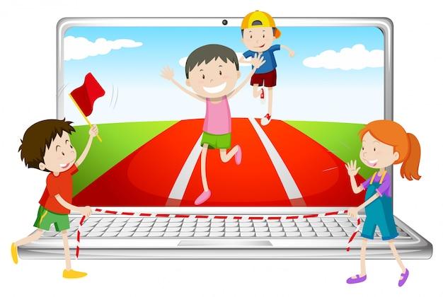 Tela de computador com crianças correndo na corrida Vetor grátis