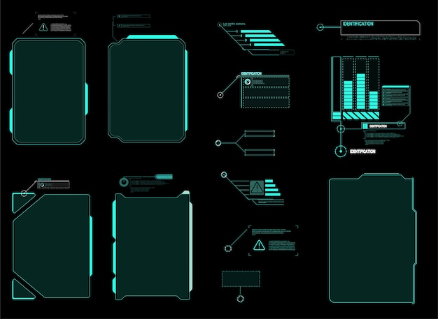Tela de interface futurista do hud. títulos de callouts digitais. conjunto de elementos de interface de usuário futurista do hud ui gui. Vetor Premium