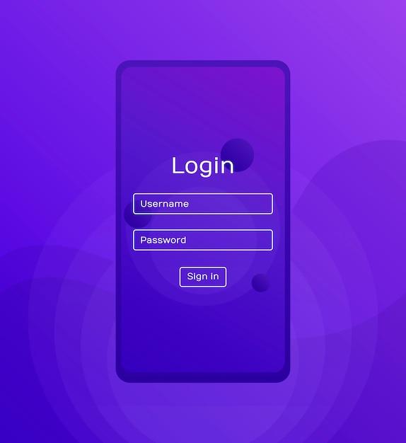 Tela de login. ui móvel limpa. aplicativo de login com a janela formulário de senha. formas de gradientes holográficos na moda. ícones da web plana. ilustração moderna do estilo flat Vetor Premium