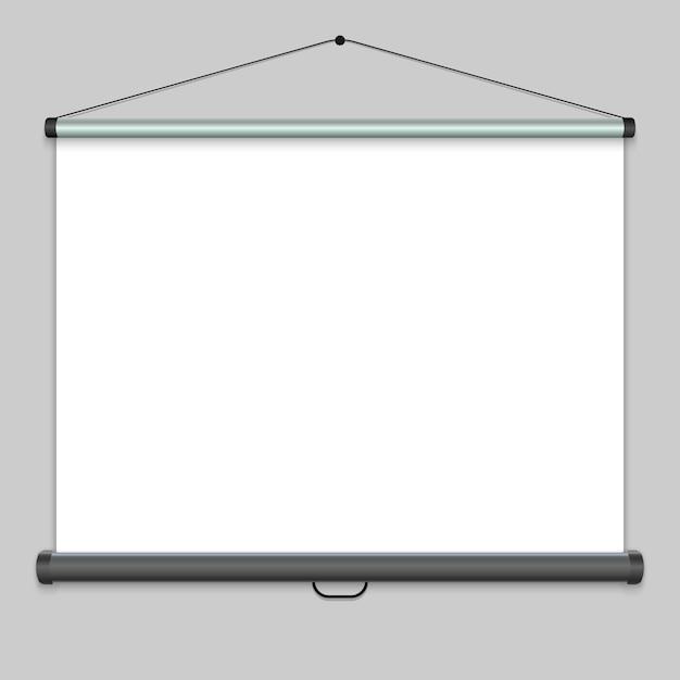 Tela de projeção realista 3d, quadro de apresentação. ilustração vetorial Vetor Premium