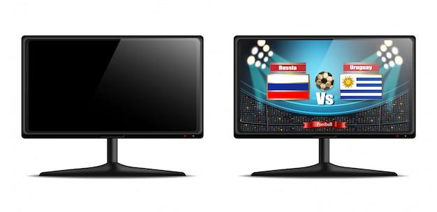 Tela de tv com partida de futebol vector realista Vetor Premium