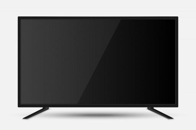 Tela de tv realista. painel de lcd de televisão moderna com partida de futebol Vetor Premium