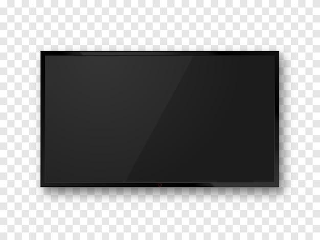 Tela de tv realista preta isolada. maquete do painel lcd. televisão em branco. Vetor Premium