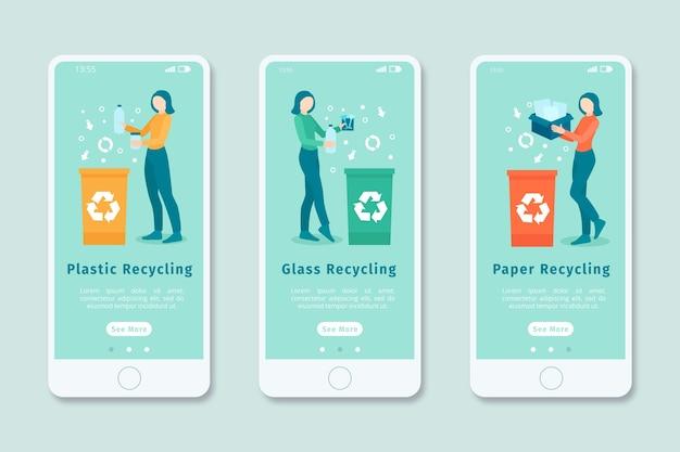 Tela do aplicativo integrado para reciclagem Vetor grátis