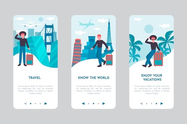 Tela do aplicativo integrado para viajar Vetor grátis