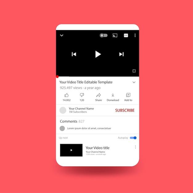 Tela do telefone do youtube com modelo de design plano Vetor grátis
