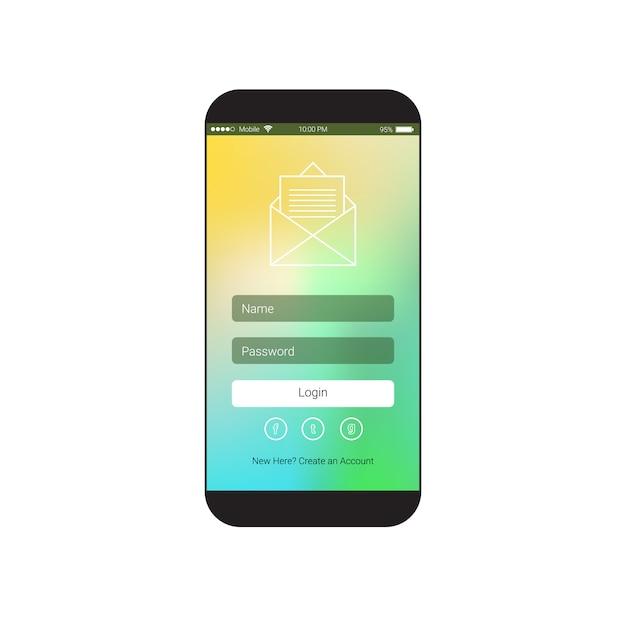 Tela do telefone inteligente celular Vetor Premium