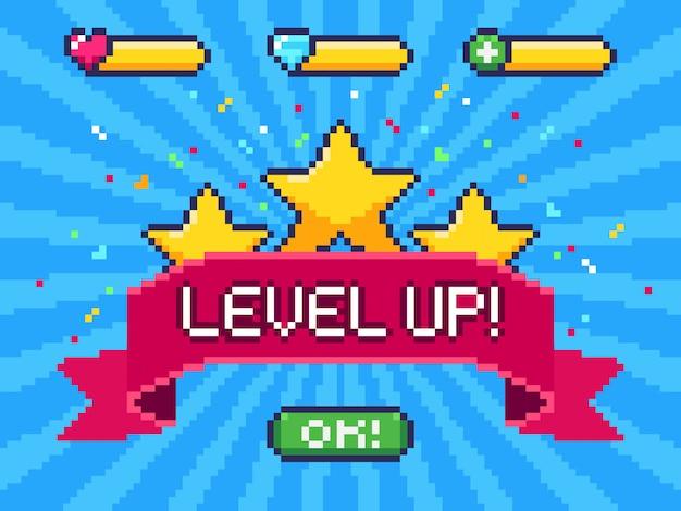 Tela level up. realização de videogame de pixel, interface do usuário de jogos de 8 bits de pixels e ilustração de progresso no nível de jogo Vetor Premium