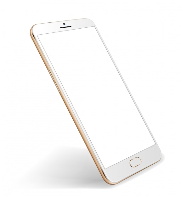 Tela transparente de maquete de smartphone para demonstração de local fácil Vetor Premium