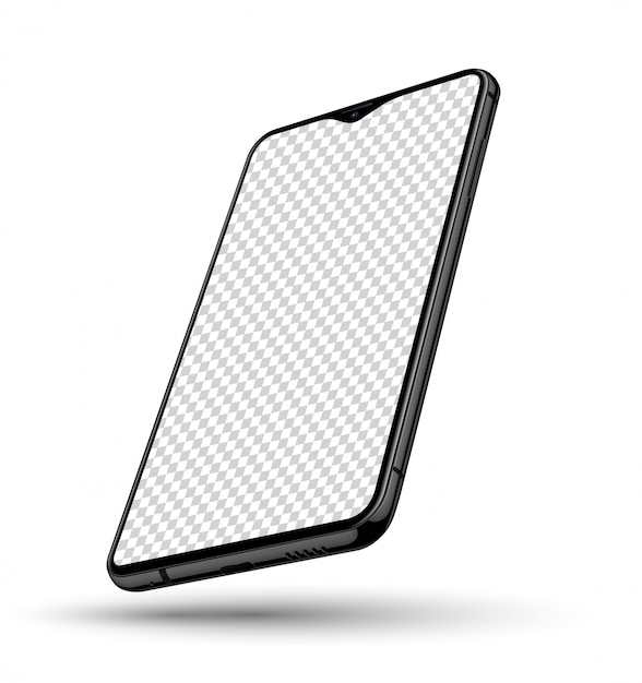 Tela transparente de maquete realista de smartphone Vetor Premium