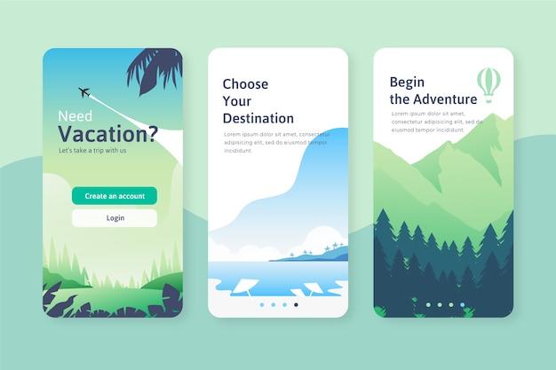 Telas de aplicativos de integração de viagens Vetor grátis