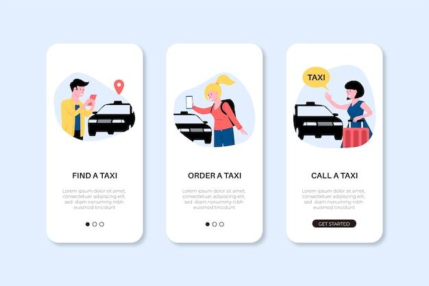 Telas de aplicativos de telefone para serviço de táxi Vetor grátis