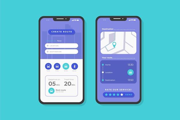 Telas de aplicativos de transporte público Vetor grátis