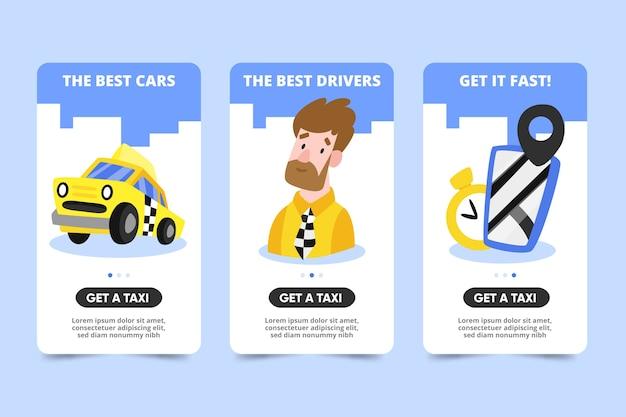 Telas de aplicativos integradas para serviço de táxi Vetor grátis