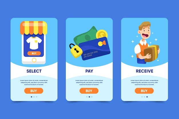 Telas de aplicativos on-line de compras on-line Vetor grátis