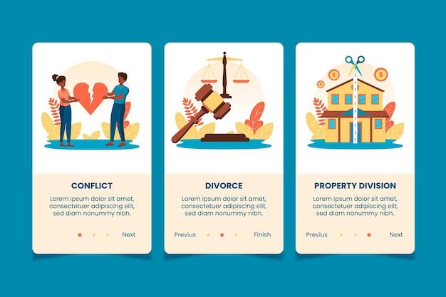 Telas de integração da mediação de divórcio Vetor grátis