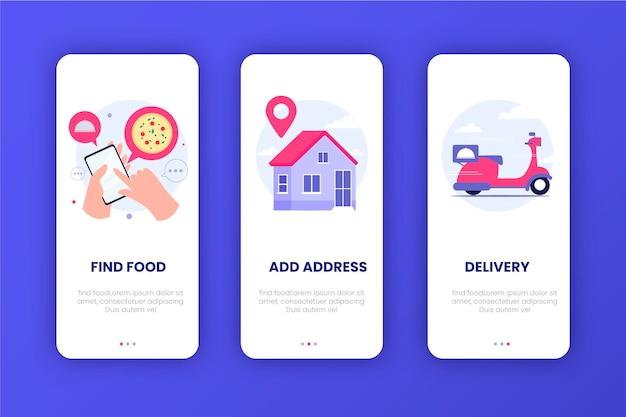 Telas de integração de entrega de alimentos Vetor grátis