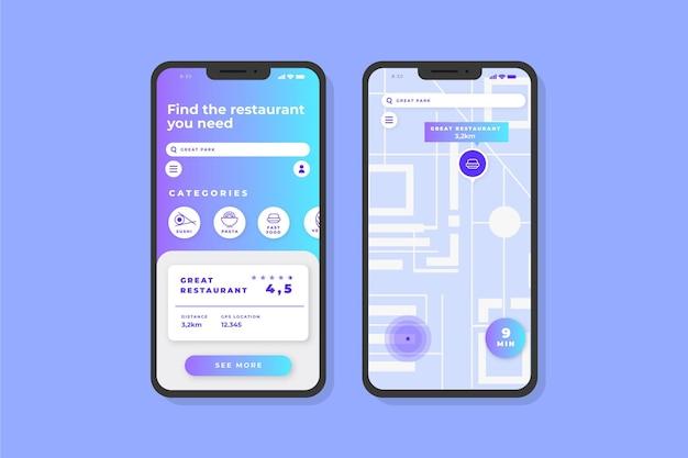 Telas do aplicativo de localização Vetor grátis