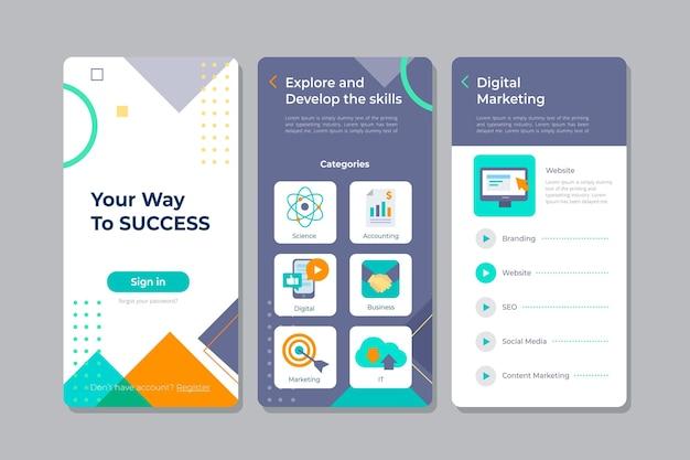Telas do aplicativo do curso Vetor Premium