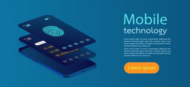Telas móveis moderno infográfico. Vetor Premium