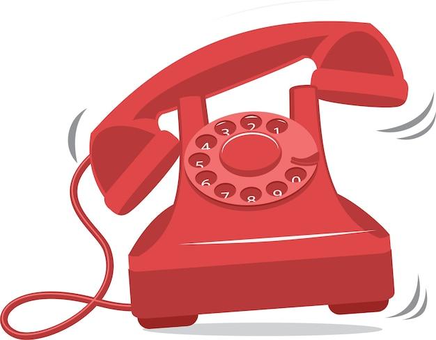 Telefone antigo vermelho vintage tocando Vetor Premium