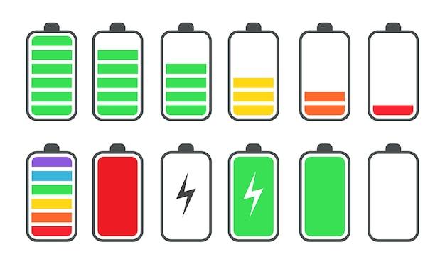 Telefone bateria carga status plana símbolos conjunto Vetor grátis