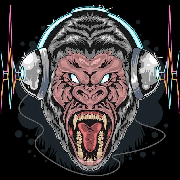 Telefone cabeça gorila Vetor Premium