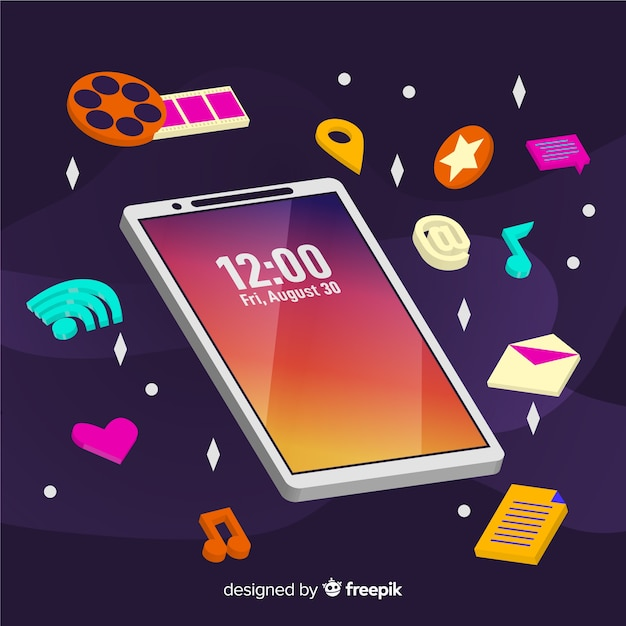 Telefone celular antigravidade com elementos Vetor grátis