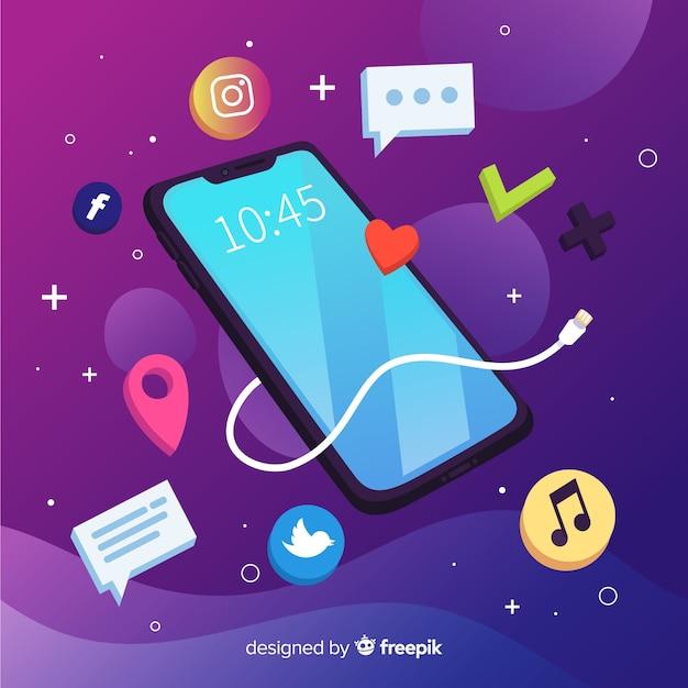 Telefone celular antigravidade isométrica com aplicativos Vetor grátis