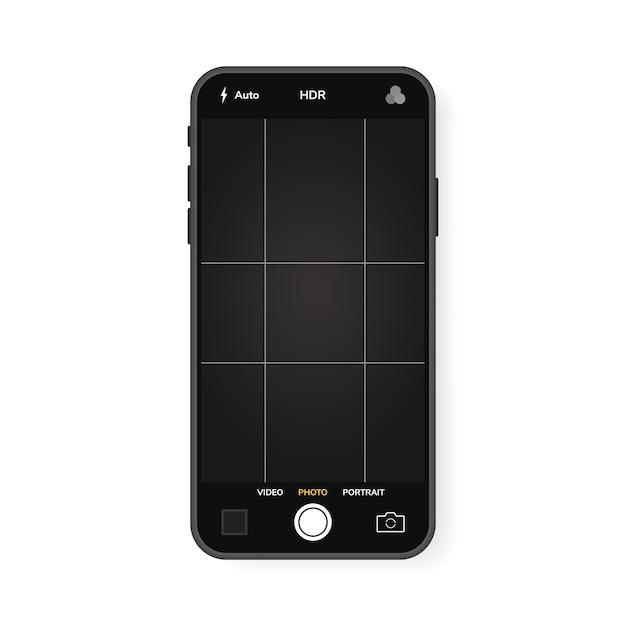 Telefone celular com interface de câmera. aplicação de aplicativo móvel. tela de foto e vídeo. gráfico de ilustração. Vetor Premium