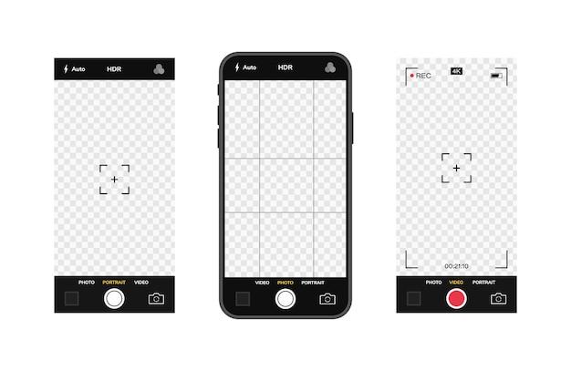 Telefone celular com interface de câmera. aplicativo de aplicativo móvel. tela de foto e vídeo. gráfico de ilustração. Vetor Premium