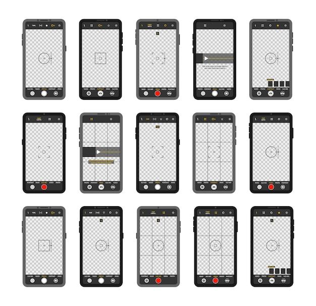 Telefone celular com interface de câmera. visor, grade, foco, botão e gravação no smartphone. gravação de vídeo para uma rede social. aplicativo de aplicativo móvel. tela de foco no tempo de gravação. Vetor Premium