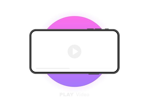 Telefone celular com reprodutor de vídeo. conceito de mídia social. videoconferência, streaming, blog. gráfico. Vetor Premium