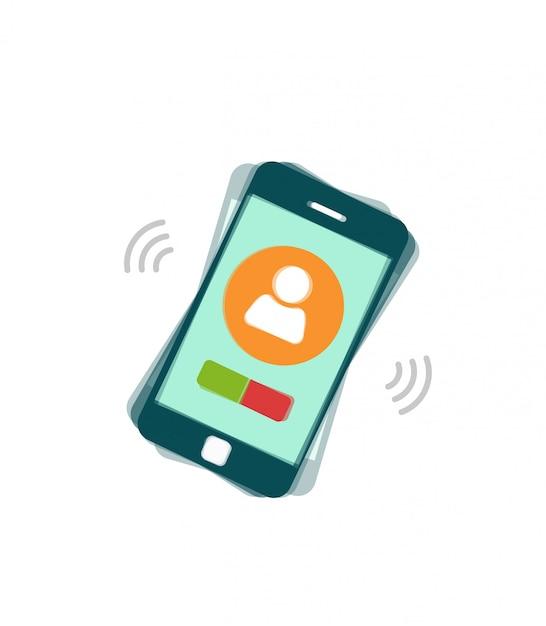 Telefone celular tocando ou ligando para smartphone Vetor Premium