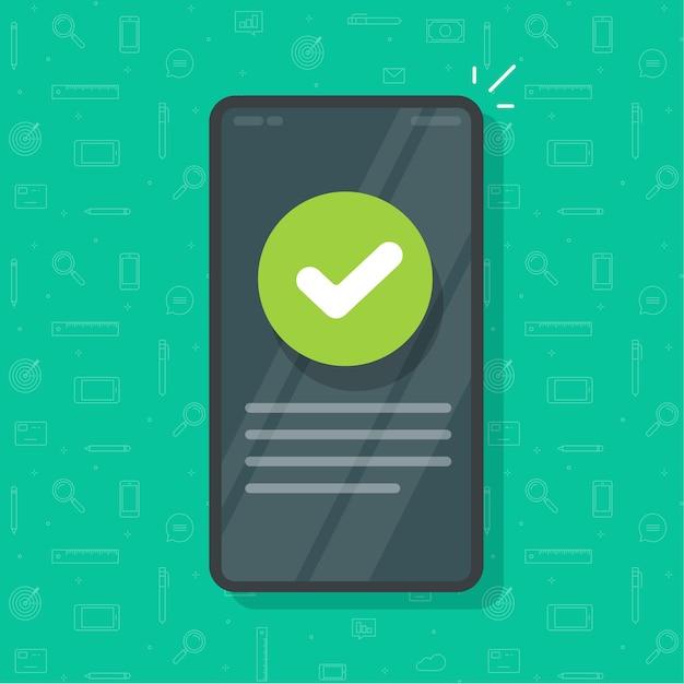 Telefone com a marca de seleção marcada como mensagem de informação atualizada Vetor Premium