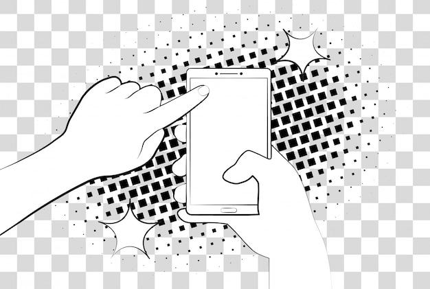 Telefone cômico com sombras de meio-tom. mão segurando o smartphone. cadastre-se na página na tela do telefone. Vetor Premium