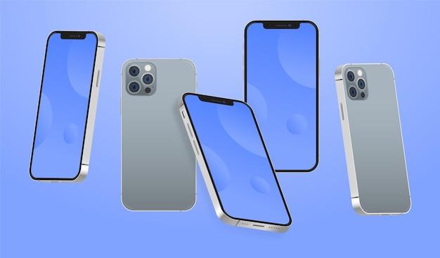 Telefone de design plano em diferentes perspectivas Vetor grátis
