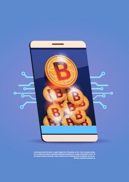 Telefone esperto da pilha com conceito cripto da moeda do dinheiro da web de digitas da pilha de bitcoins Vetor Premium