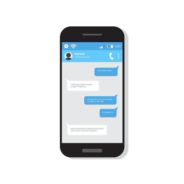 Telefone inteligente com bate-papo sms mensagens bolha Vetor Premium