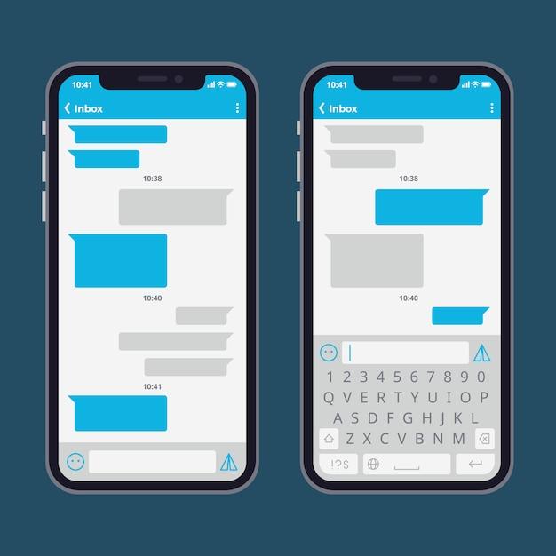 Telefone inteligente com bolhas de mensagem de texto e modelo de vetor de teclados Vetor Premium