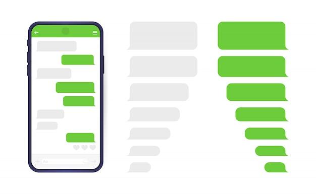 Telefone inteligente com tela de bate-papo do messenger. bolhas de modelo de sms para compor diálogos. Vetor Premium